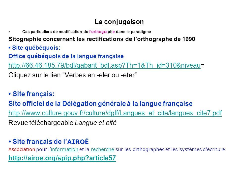 La conjugaison Cas particuliers de modification de lorthographe dans le paradigme Sitographie concernant les rectifications de lorthographe de 1990 Site québéquois: Office québéquois de la langue française http://66.46.185.79/bdl/gabarit_bdl.asp?Th=1&Th_id=310&niveauhttp://66.46.185.79/bdl/gabarit_bdl.asp?Th=1&Th_id=310&niveau= Cliquez sur le lien Verbes en -eler ou -eter Site français: Site officiel de la Délégation générale à la langue française http://www.culture.gouv.fr/culture/dglf/Langues_et_cite/langues_cite7.pdf Revue téléchargeable Langue et cité Site français de l AIROÉ Association pour linformation et la recherche sur les orthographes et les systèmes décritureinformationrecherche http://airoe.org/spip.php?article57