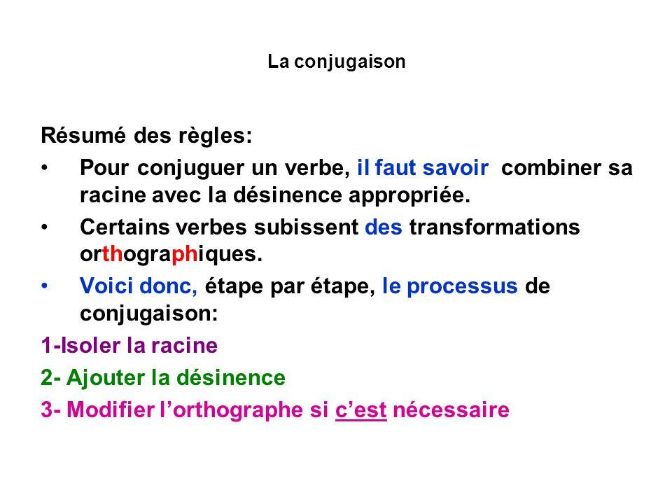 La conjugaison Résumé des règles: Pour conjuguer un verbe, il faut savoir combiner sa racine avec la désinence appropriée. Certains verbes subissent d