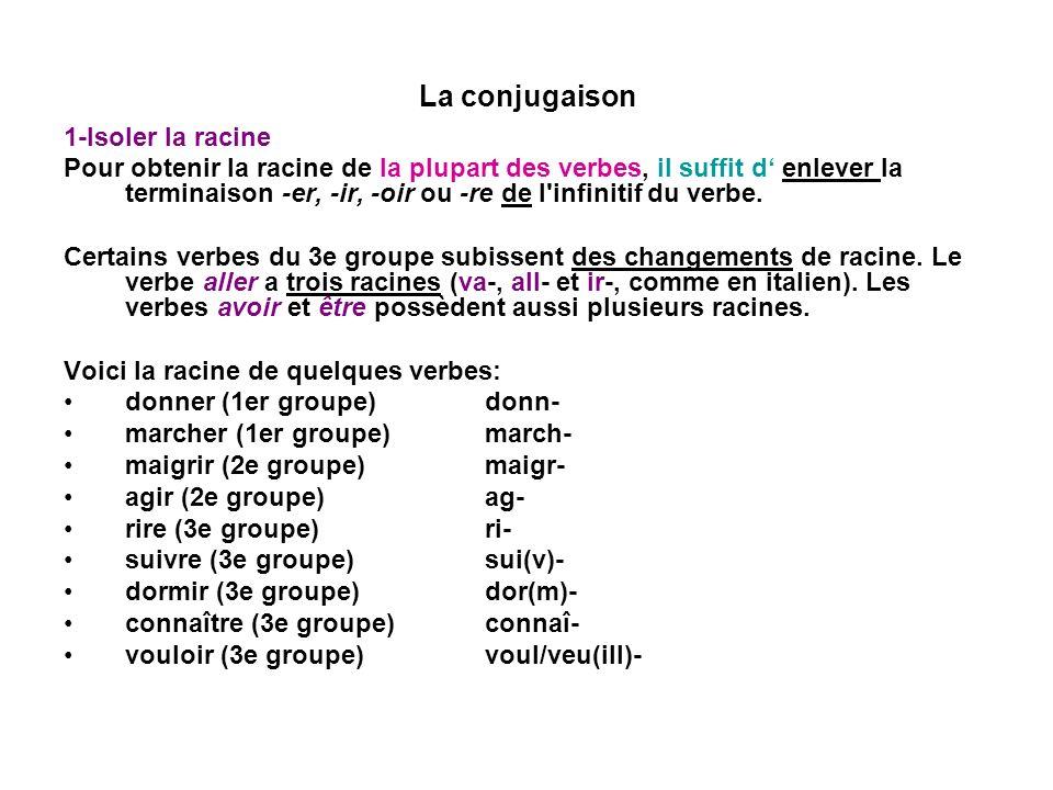 La conjugaison 1-Isoler la racine Pour obtenir la racine de la plupart des verbes, il suffit d enlever la terminaison -er, -ir, -oir ou -re de l'infin