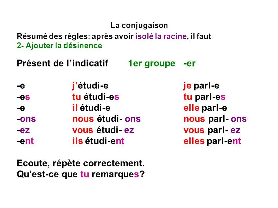 La conjugaison Résumé des règles: après avoir isolé la racine, il faut 2- Ajouter la désinence Présent de lindicatif1er groupe -er Il y a trois formes phoniques au présent étudi-e, étudi-es, étudi-e, étudi-ent [etydi] étudi- ons[etydio~] étudi- ez (étudier)[etydie~] parl-e, parl-es, parl-e, parlent[parl] parl- ons[parlo~] parl- ez (parler)[parle] Conséquence.