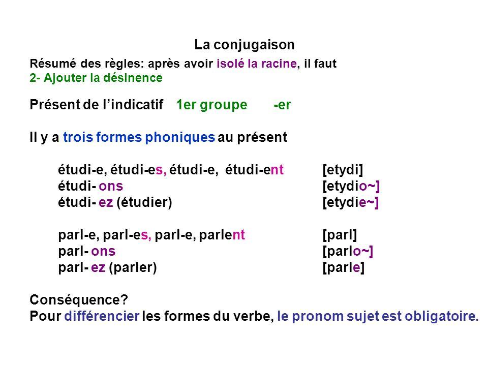 La conjugaison Résumé des règles: après avoir isolé la racine, il faut 2- Ajouter la désinence Présent de lindicatif1er groupe -er Il y a trois formes