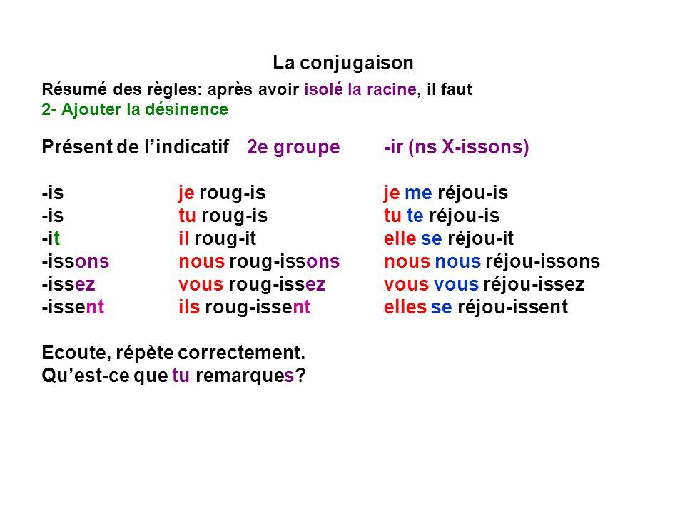 La conjugaison Résumé des règles: après avoir isolé la racine, il faut 2- Ajouter la désinence Présent de lindicatif2e groupe -ir (ns X-issons) -isje