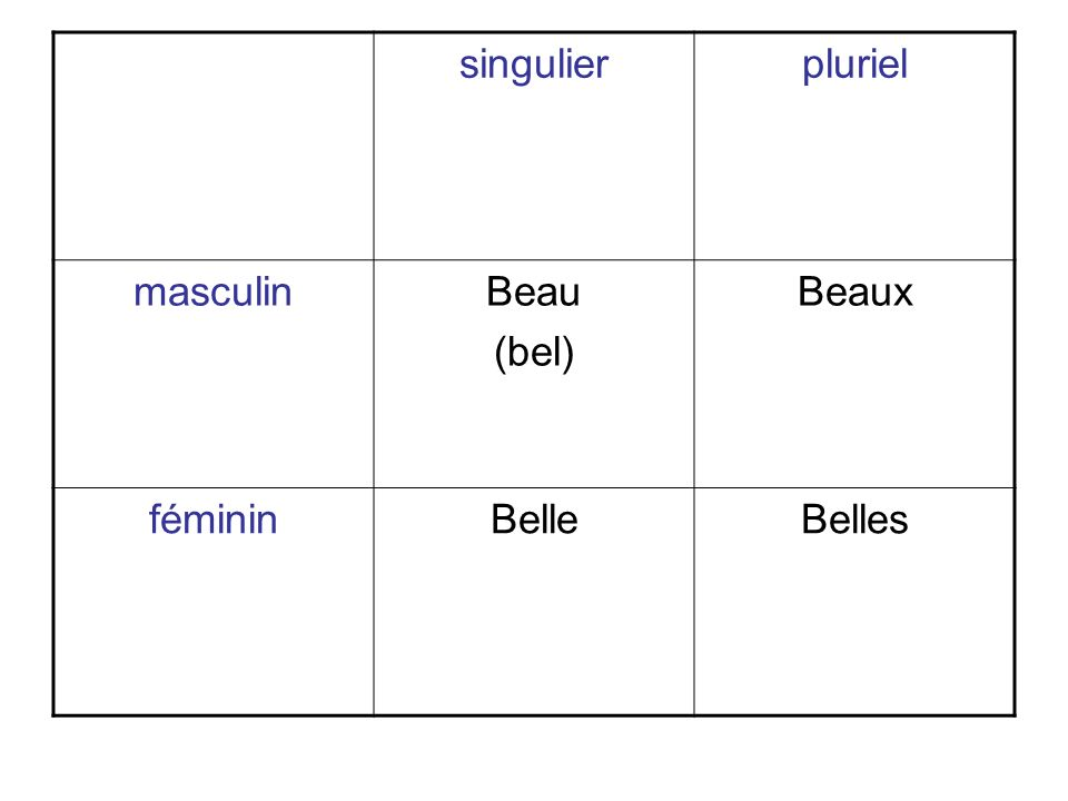 singulierpluriel masculinBeau (bel) Beaux fémininBelleBelles