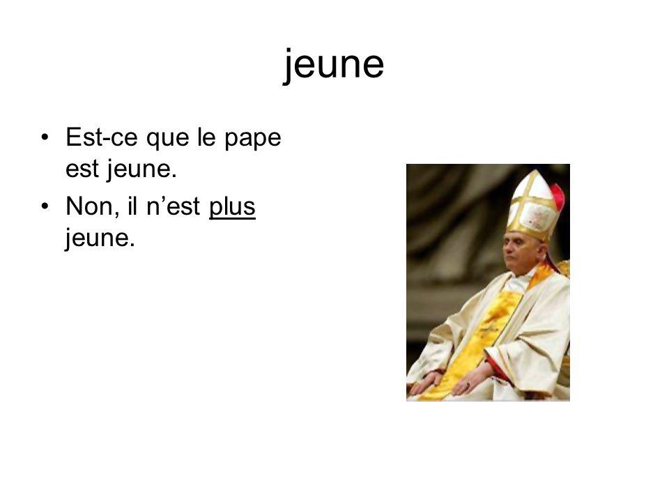 jeune Est-ce que le pape est jeune. Non, il nest plus jeune.