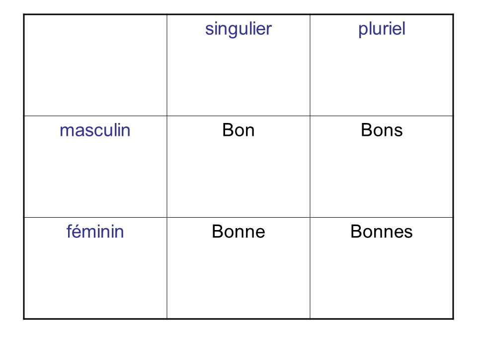singulierpluriel masculinBonBons fémininBonneBonnes