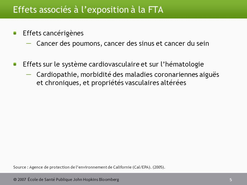 2007 École de Santé Publique John Hopkins Bloomberg 5 Effets associés à lexposition à la FTA Effets cancérigènes Cancer des poumons, cancer des sinus et cancer du sein Effets sur le système cardiovasculaire et sur lhématologie Cardiopathie, morbidité des maladies coronariennes aiguës et chroniques, et propriétés vasculaires altérées Source : Agence de protection de lenvironnement de Californie (Cal/EPA).