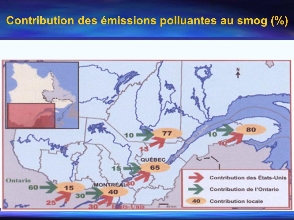 Contribution des émissions polluantes au smog (%)
