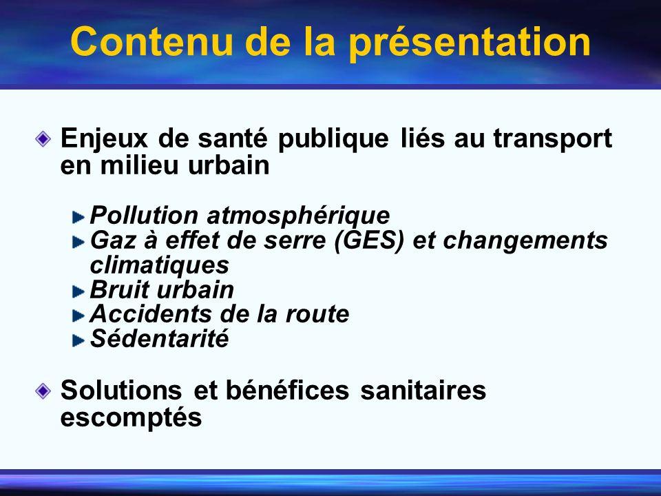 Contenu de la présentation Enjeux de santé publique liés au transport en milieu urbain Pollution atmosphérique Gaz à effet de serre (GES) et changemen