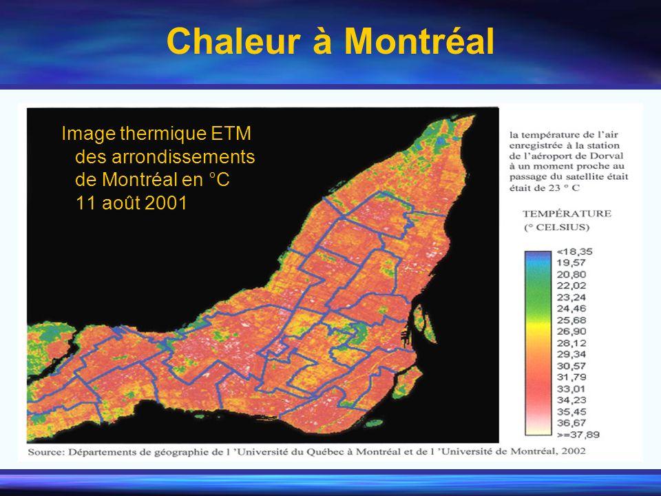 Image thermique ETM des arrondissements de Montréal en °C 11 août 2001 Chaleur à Montréal