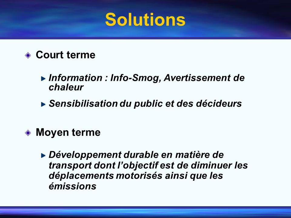 Solutions Court terme Information : Info-Smog, Avertissement de chaleur Sensibilisation du public et des décideurs Moyen terme Développement durable e