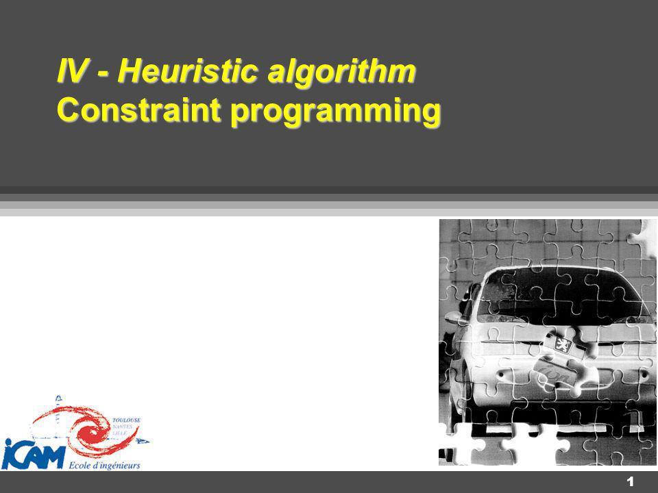 V 3.19 12 1.2 - Idée En fait, la programmation par contraintes va combiner ces deux manières de procéder afin de réduire le nombre de tentatives et donc d optimiser le temps de recherche de la solution.