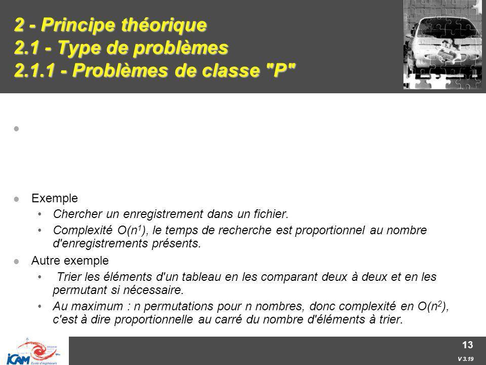 V 3.19 13 2 - Principe théorique 2.1 - Type de problèmes 2.1.1 - Problèmes de classe