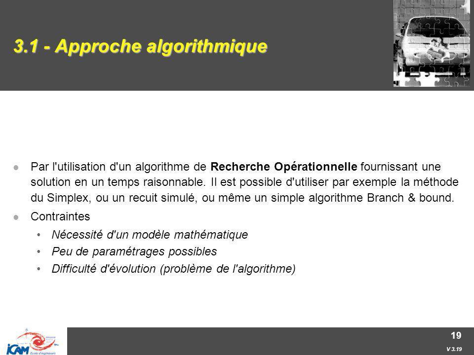 V 3.19 19 3.1 - Approche algorithmique Par l'utilisation d'un algorithme de Recherche Opérationnelle fournissant une solution en un temps raisonnable.