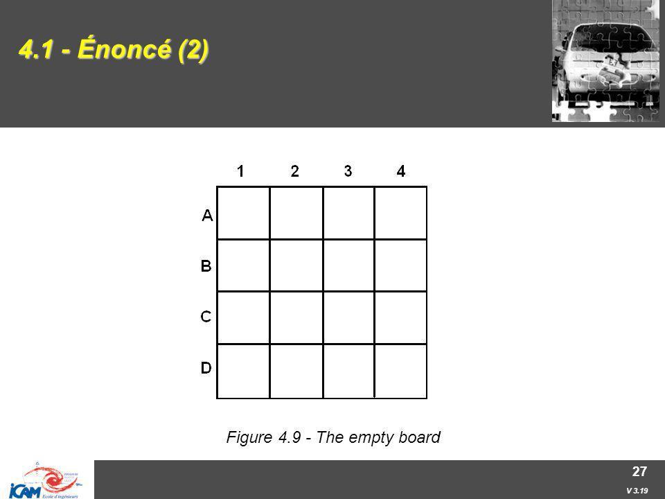 V 3.19 27 4.1 - Énoncé (2) Figure 4.9 - The empty board