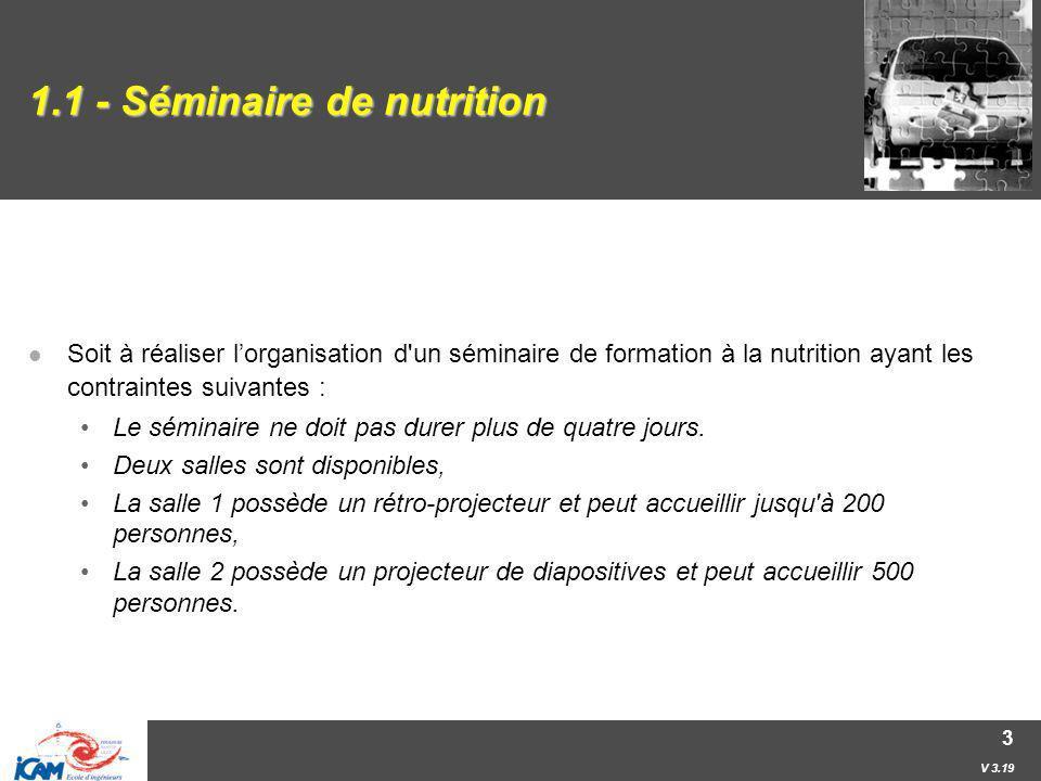 V 3.19 3 1.1 - Séminaire de nutrition Soit à réaliser lorganisation d'un séminaire de formation à la nutrition ayant les contraintes suivantes : Le sé