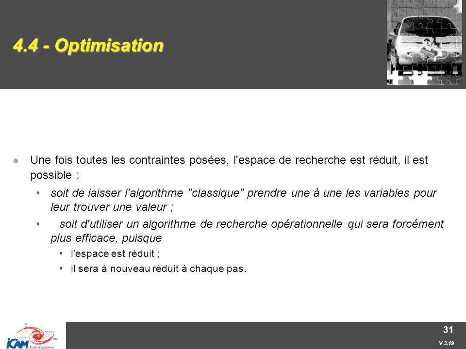 V 3.19 31 4.4 - Optimisation Une fois toutes les contraintes posées, l'espace de recherche est réduit, il est possible : soit de laisser l'algorithme