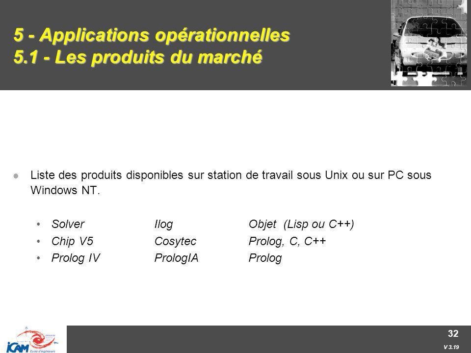 V 3.19 32 5 - Applications opérationnelles 5.1 - Les produits du marché Liste des produits disponibles sur station de travail sous Unix ou sur PC sous