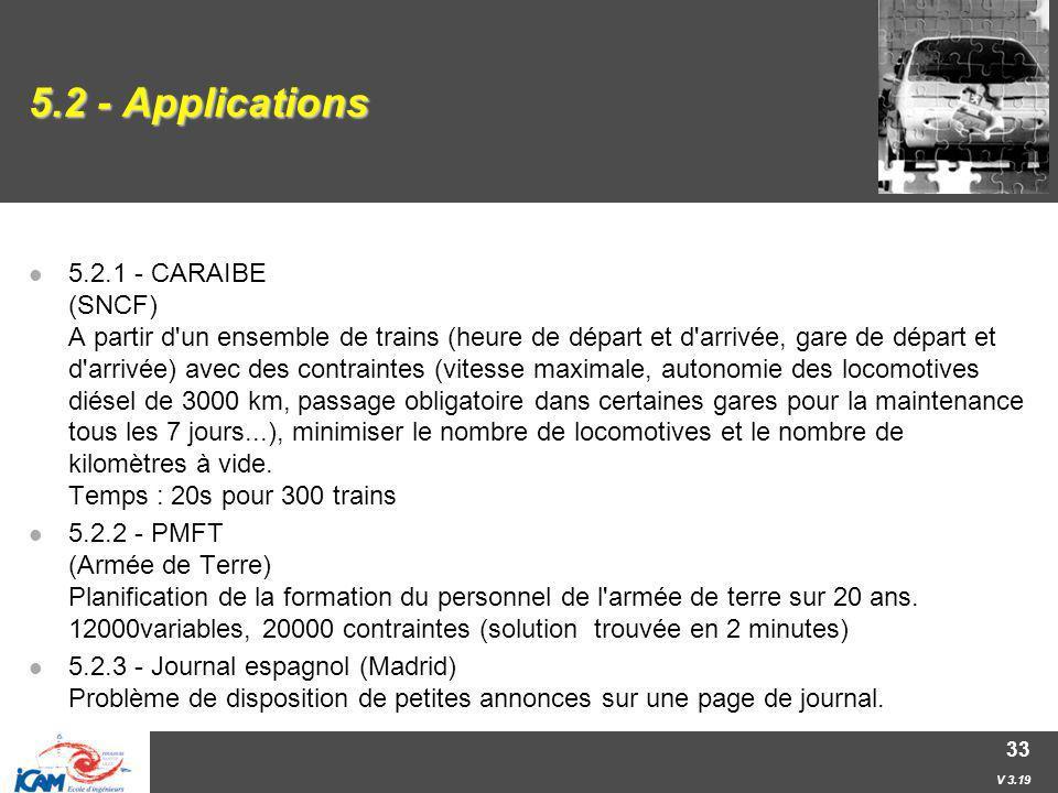 V 3.19 33 5.2 - Applications 5.2.1 - CARAIBE (SNCF) A partir d'un ensemble de trains (heure de départ et d'arrivée, gare de départ et d'arrivée) avec