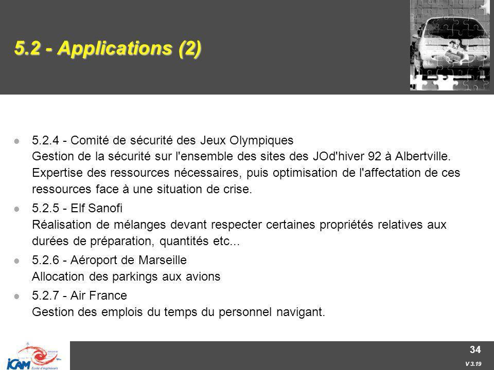V 3.19 34 5.2 - Applications (2) 5.2.4 - Comité de sécurité des Jeux Olympiques Gestion de la sécurité sur l'ensemble des sites des JOd'hiver 92 à Alb