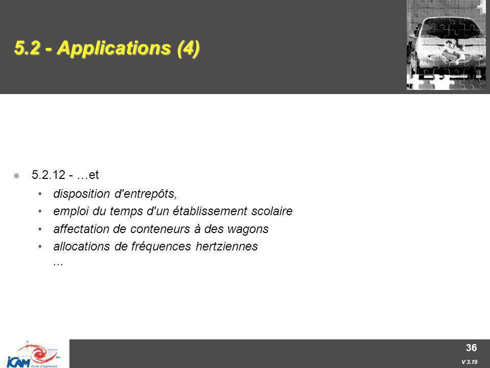 V 3.19 36 5.2 - Applications (4) 5.2.12 - …et disposition d'entrepôts, emploi du temps d'un établissement scolaire affectation de conteneurs à des wag