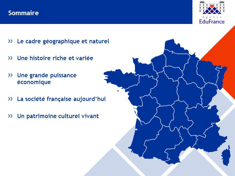 Le cadre géographique et naturel Une histoire riche et variée Une grande puissance économique La société française aujourdhui Un patrimoine culturel vivant Sommaire