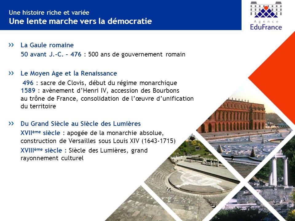 Une histoire riche et variée Une lente marche vers la démocratie La Gaule romaine 50 avant J.-C.