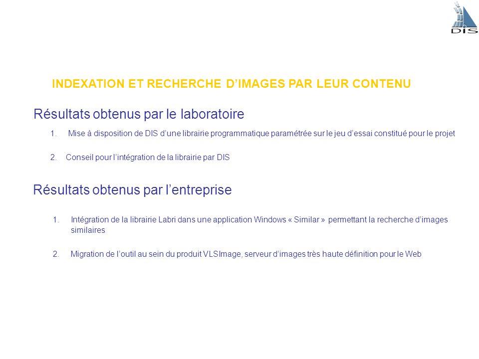 Résultats obtenus par le laboratoire 1.Mise à disposition de DIS dune librairie programmatique paramétrée sur le jeu dessai constitué pour le projet 2