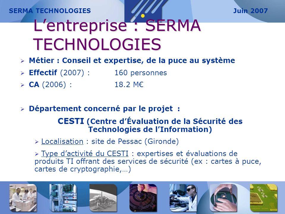 Lentreprise : SERMA TECHNOLOGIES Métier : Conseil et expertise, de la puce au système Effectif (2007) : 160 personnes CA (2006) : 18.2 M Département c