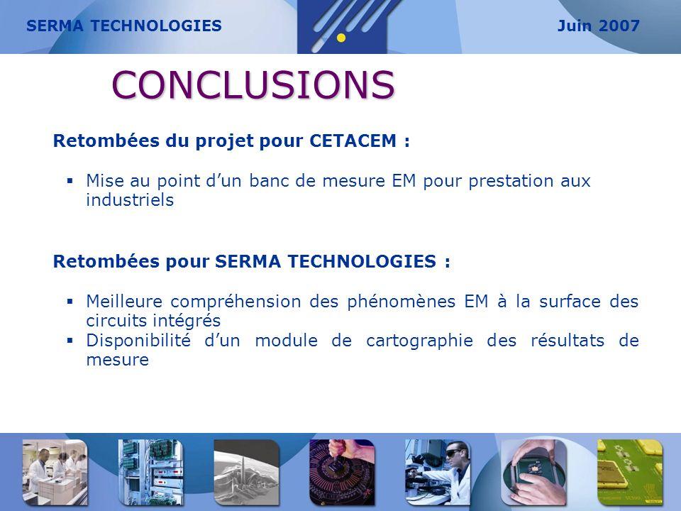 CONCLUSIONS Retombées du projet pour CETACEM : Mise au point dun banc de mesure EM pour prestation aux industriels Retombées pour SERMA TECHNOLOGIES :
