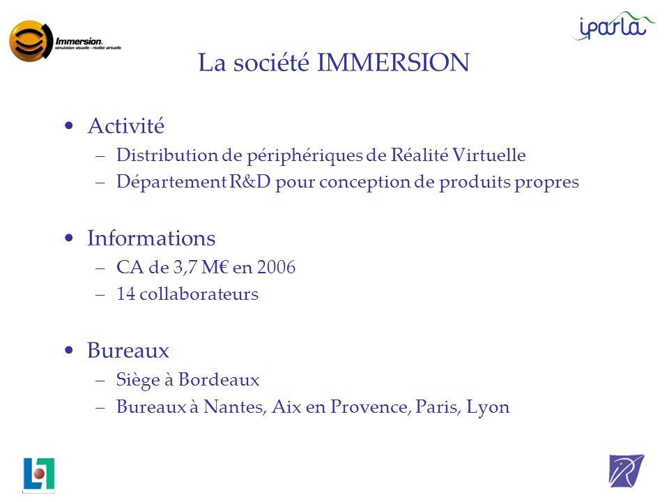 La société IMMERSION Activité –Distribution de périphériques de Réalité Virtuelle –Département R&D pour conception de produits propres Informations –C