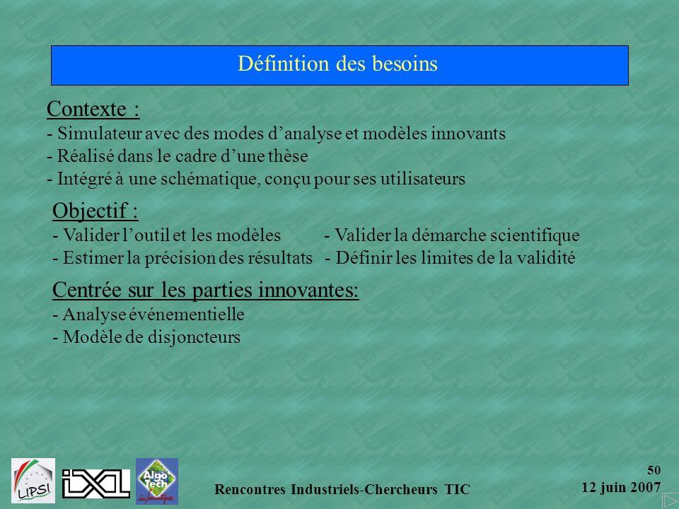 50 12 juin 2007 Rencontres Industriels-Chercheurs TIC Définition des besoins Contexte : - Simulateur avec des modes danalyse et modèles innovants - Ré