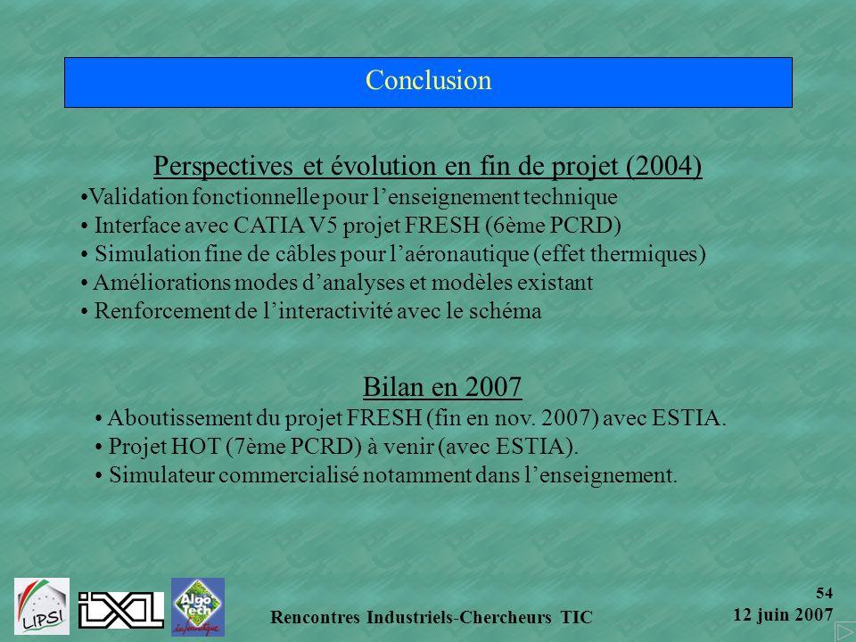 54 12 juin 2007 Rencontres Industriels-Chercheurs TIC Conclusion Perspectives et évolution en fin de projet (2004) Validation fonctionnelle pour lense