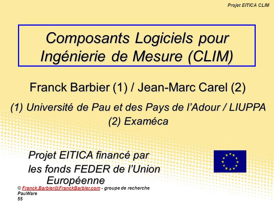 Projet EITICA CLIM © Franck.Barbier@FranckBarbier.com - groupe de recherche PauWare 55Franck.Barbier@FranckBarbier.com Composants Logiciels pour Ingén