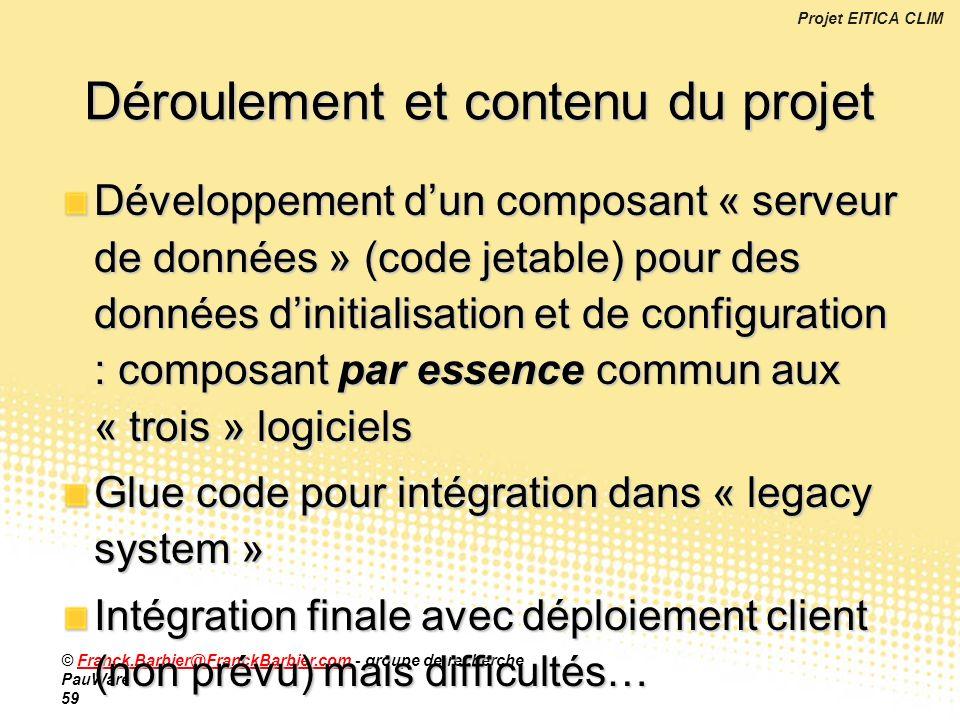 Projet EITICA CLIM © Franck.Barbier@FranckBarbier.com - groupe de recherche PauWare 59Franck.Barbier@FranckBarbier.com Développement dun composant « s