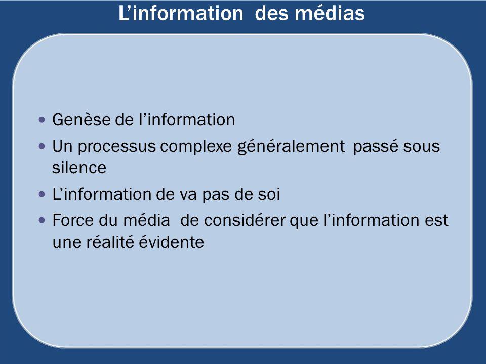 Linformation des médias Genèse de linformation Un processus complexe généralement passé sous silence Linformation de va pas de soi Force du média de c