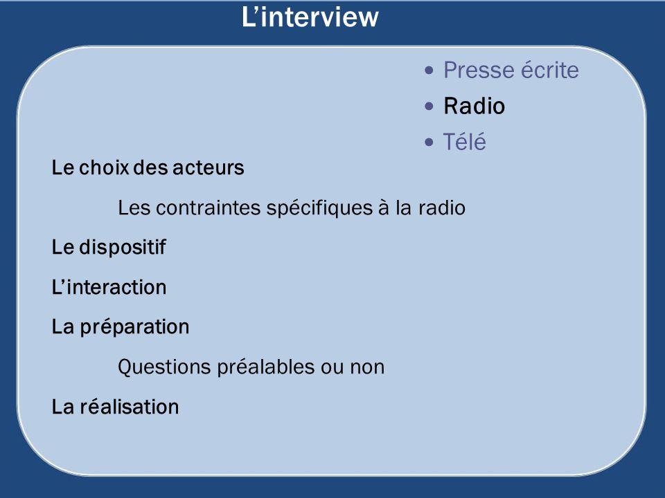 Linterview Presse écrite Radio Télé Le choix des acteurs Les contraintes spécifiques à la radio Le dispositif Linteraction La préparation Questions pr