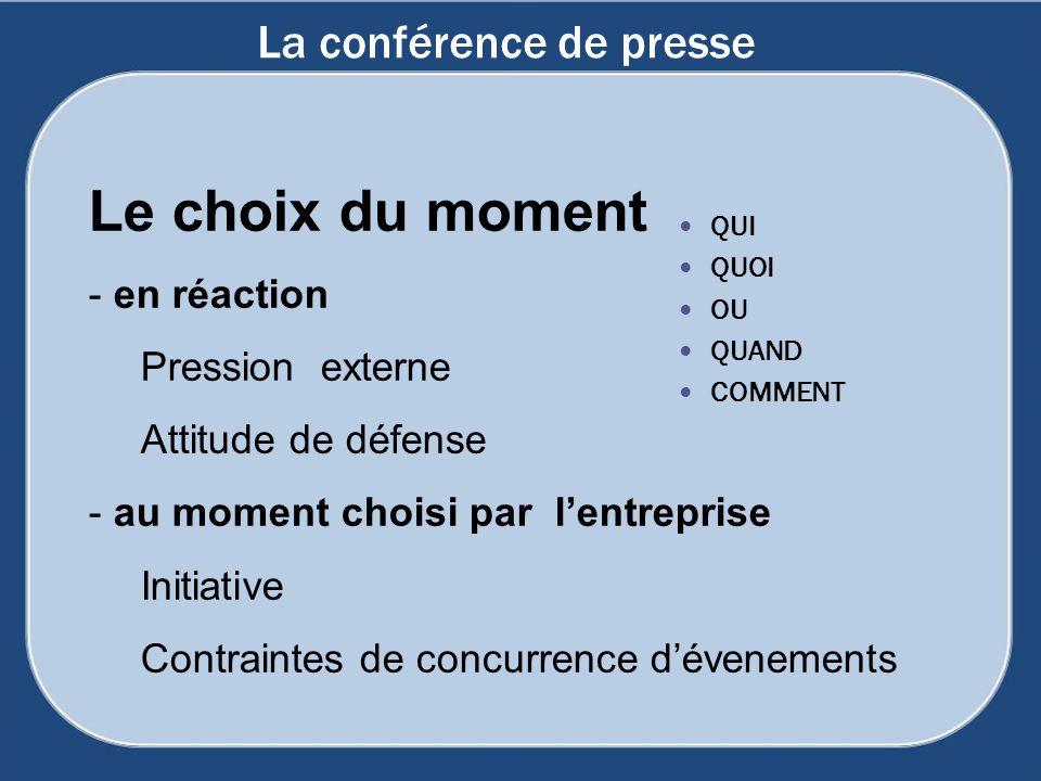 La conférence de presse QUI QUOI OU QUAND COMMENT Le choix du moment - en réaction Pression externe Attitude de défense - au moment choisi par lentrep