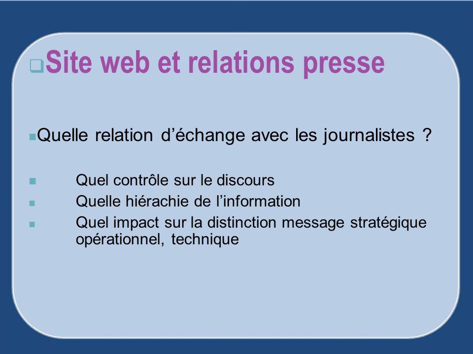 Site web et relations presse Quelle relation déchange avec les journalistes ? Quel contrôle sur le discours Quelle hiérachie de linformation Quel impa