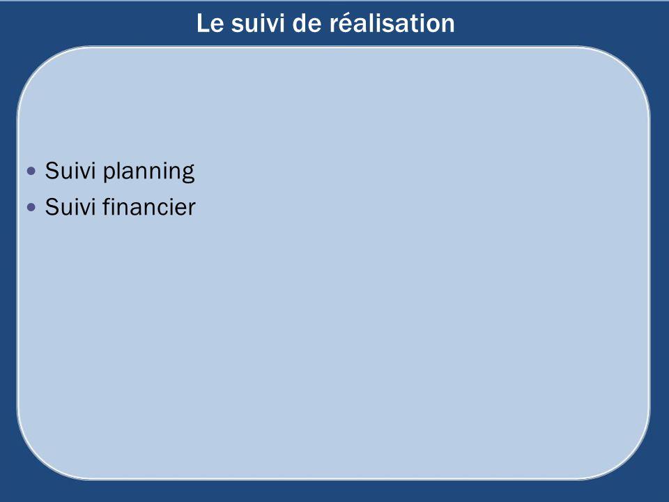 Le suivi de réalisation Suivi planning Suivi financier