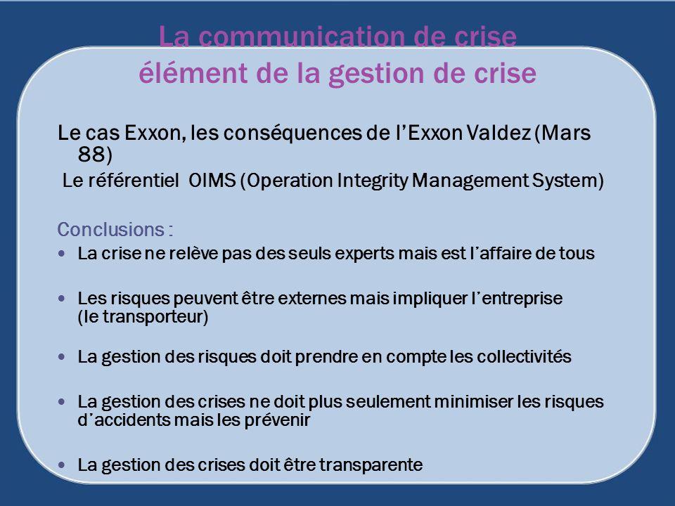 La communication de crise élément de la gestion de crise Le cas Exxon, les conséquences de lExxon Valdez (Mars 88) Le référentiel OIMS (Operation Inte
