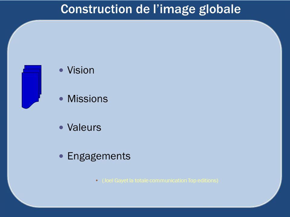 Construction de limage globale Vision Missions Valeurs Engagements (Joel Gayet la totale communication Top editions)