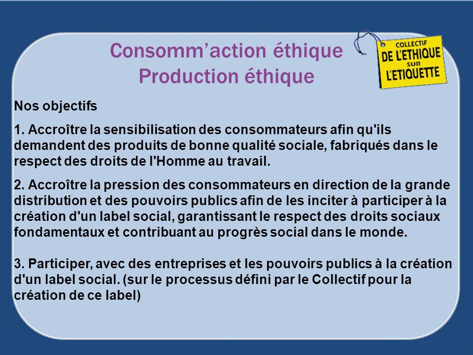 Consommaction éthique Production éthique Nos objectifs 1. Accroître la sensibilisation des consommateurs afin qu'ils demandent des produits de bonne q
