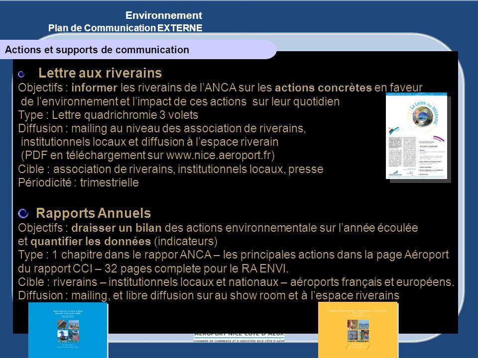Lettre aux riverains Objectifs : informer les riverains de lANCA sur les actions concrètes en faveur de lenvironnement et limpact de ces actions sur l