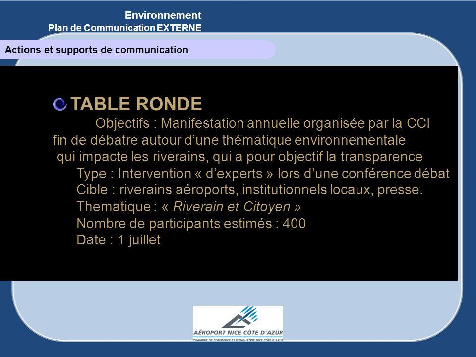 TABLE RONDE Objectifs : Manifestation annuelle organisée par la CCI fin de débatre autour dune thématique environnementale qui impacte les riverains,