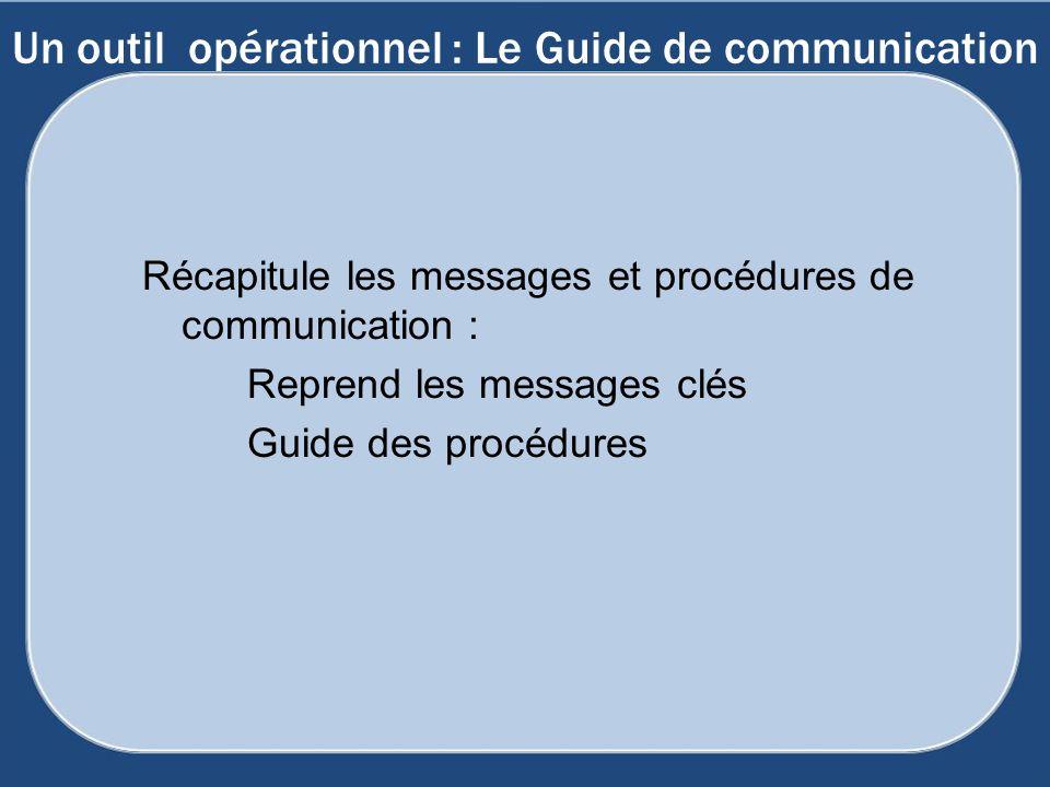 Un outil opérationnel : Le Guide de communication Récapitule les messages et procédures de communication : Reprend les messages clés Guide des procédu