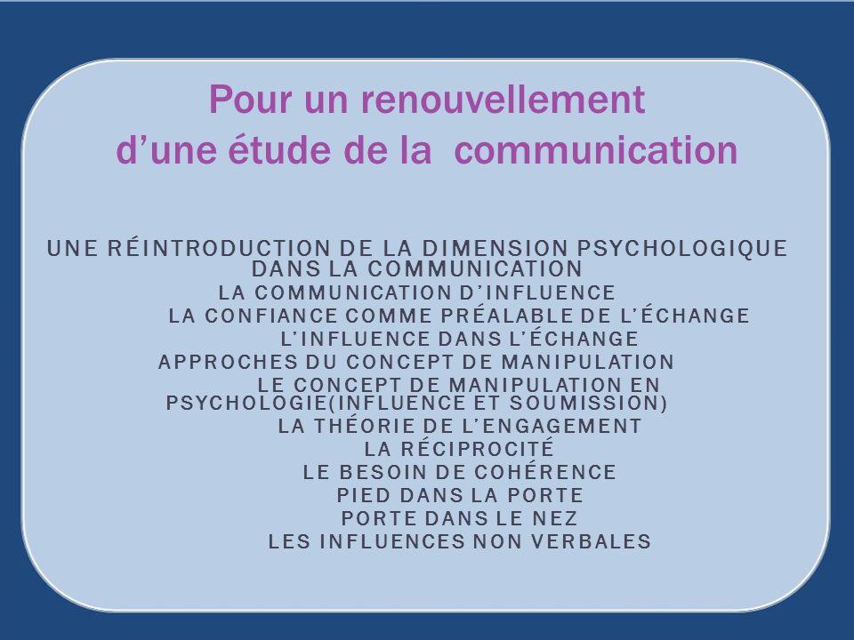 UNE RÉINTRODUCTION DE LA DIMENSION PSYCHOLOGIQUE DANS LA COMMUNICATION LA COMMUNICATION DINFLUENCE LA CONFIANCE COMME PRÉALABLE DE LÉCHANGE LINFLUENCE