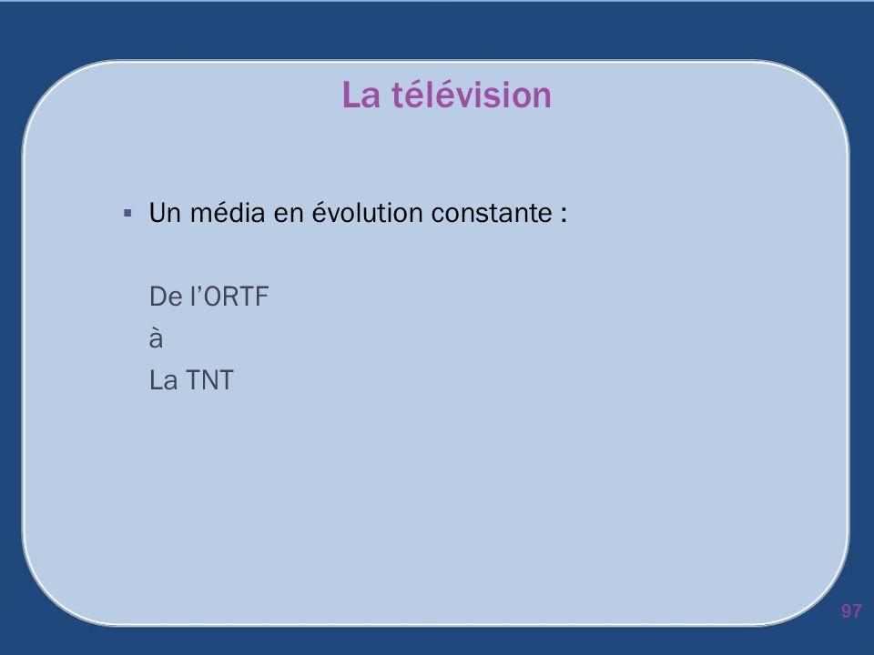 La télévision Un média en évolution constante : De lORTF à La TNT 97