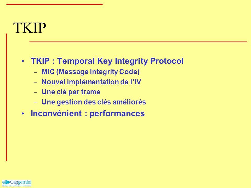 TKIP TKIP : Temporal Key Integrity Protocol – MIC (Message Integrity Code) – Nouvel implémentation de lIV – Une clé par trame – Une gestion des clés a