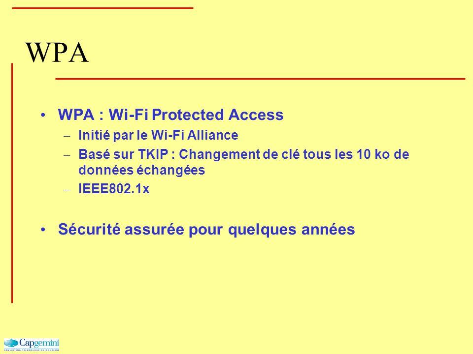 WPA WPA : Wi-Fi Protected Access – Initié par le Wi-Fi Alliance – Basé sur TKIP : Changement de clé tous les 10 ko de données échangées – IEEE802.1x S