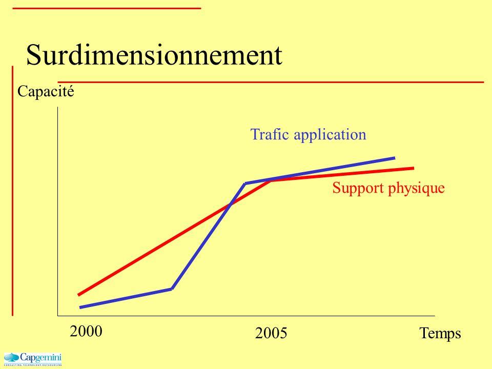 Surdimensionnement Capacité Temps 2000 2005 Support physique Trafic application